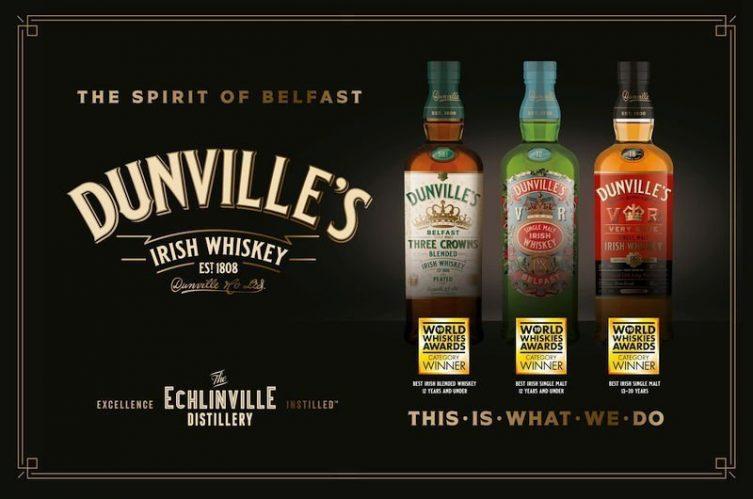 Dunville's Irish whiskey wins five world whiskies awards